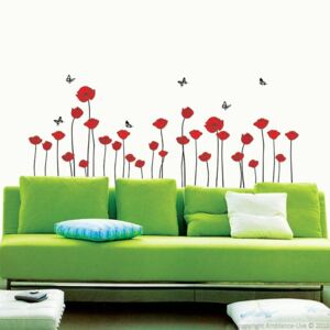 Sada samolepek Ambiance Red Poppy Flowers