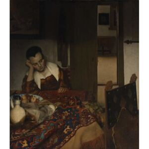Obraz, Reprodukce - Girl asleep at a table, 1656-57, Jan (1632-75) Vermeer