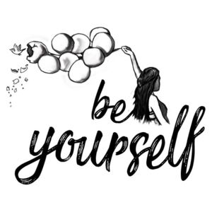 Be yourself - White, (96 x 128 cm)