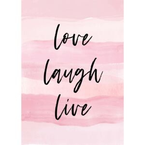 Love Laught Quote Pink, (96 x 128 cm)