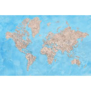 Detailed watercolor world map in brown and blue, Bree, (128 x 85 cm)