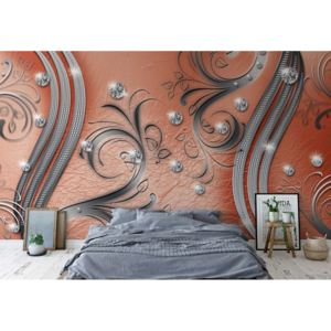 Fototapeta - Ornamental Silver And Orange Swirl Design Vliesová tapeta - 250x104 cm