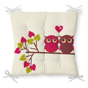 Podsedák s příměsí bavlny Minimalist Cushion Covers Lovely Owls, 40 x 40 cm