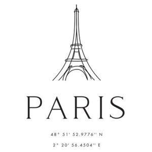 Ilustrace Paris coordinates with Eiffel Tower, Blursbyai