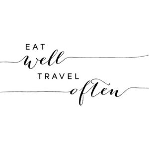 Ilustrace Eat well travel often typography art, Blursbyai