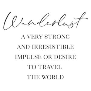 Ilustrace Wanderlust definition in scandinavian style, Blursbyai