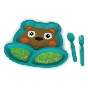 O-OOPS O-OOPS Plates with Compartments! 15557-Bear Chocolat au Lait