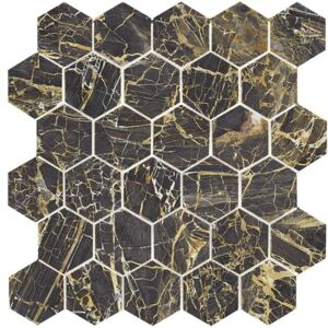 EBS Museo hexagon 30x30 black golden lesklý