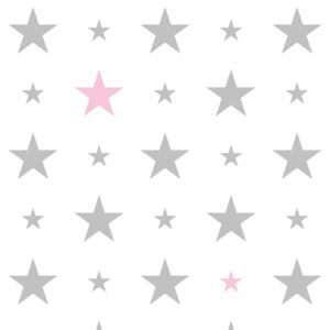 Tapety White & Grey & Pink 15 cm and 7 cm Stars FAVI.cz