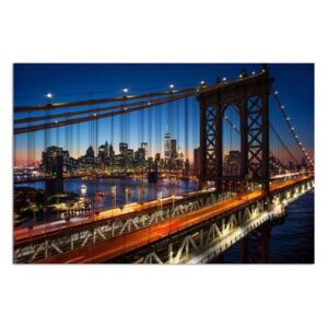 Obraz CARO - Sunset Over The Brooklyn Bridge 40x30 cm