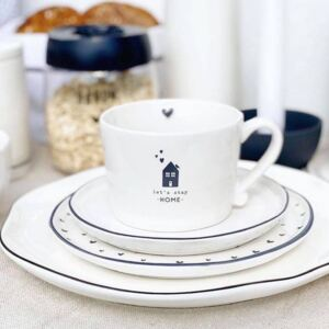 Bastion Collections Keramický hrnek White /let's stay Home in Black 240 ml