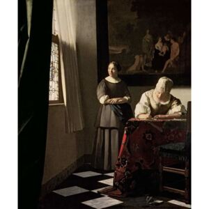 Obraz, Reprodukce - Lady writing a letter with her Maid, c.1670, Jan (1632-75) Vermeer