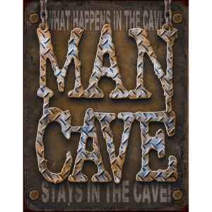 Plechová cedule: What Happens in the Cave, Stays in the Cave - 40x30 cm