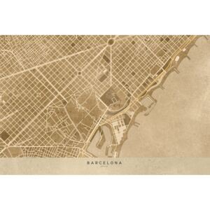 Ilustrace Map of Barcelona downtown in sepia vintage style, Blursbyai