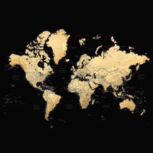 Ilustrace Black and gold detailed world map with cities, Eleni, Blursbyai