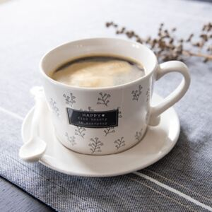 Bastion Collections Keramický hrnek Coffee White/Find Beauty in everyday in Black 300 ml
