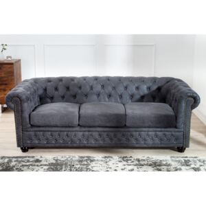 Sofa Chesterfield II 3er 200cm šedá antik