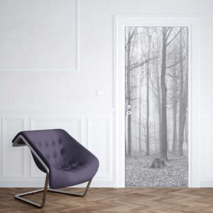 GLIX Fototapeta na dveře - Black And White Misty Forest | 91x211 cm