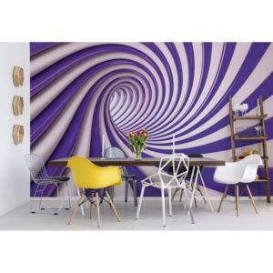 Fototapeta GLIX - 3D Swirl Tunnel Purple And White + lepidlo ZDARMA Vliesová tapeta - 250x104 cm