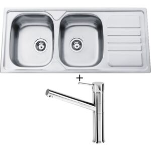 SET Sinks OKIO 1160 DUO V nerez matný + Deante ASTER 071 M chrom