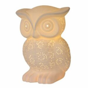 LUCIDE OWL Table Lamp E14 H2cm White Porcelain stolní lampa