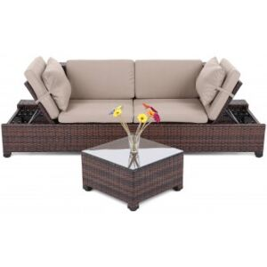 Sofa Milano 2 v 1 z technoratanu Brown / Taupe
