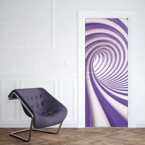 GLIX Fototapeta na dveře - 3D Swirl Tunnel Purple And White | 91x211 cm