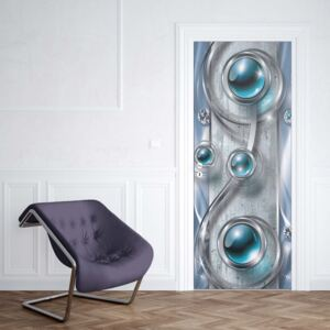 GLIX Fototapeta na dveře - Luxury 3D Silver And Blue Ornamental Design | 91x211 cm