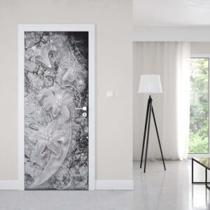 GLIX Fototapeta na dveře - 3D Ornamental Floral Design Black And Grey | 91x211 cm