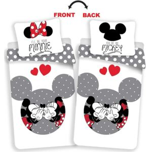 Jerry Fabrics povlečení bavlna Mickey and Minnie love grey 140x200+70x90 cm