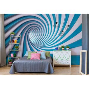 Fototapeta - 3D Swirl Tunnel Blue And White Vliesová tapeta - 250x104 cm