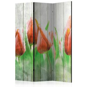 Artgeist Paraván - Red tulips on wood [Room Dividers] 135x172
