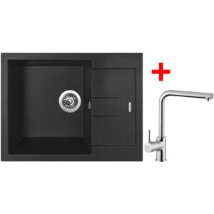 Set Sinks dřez AMANDA 650 Metalblack + baterie MIX 3 Chrom