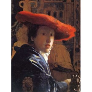 Obraz, Reprodukce - Girl with a Red Hat, c.1665, Jan (1632-75) Vermeer