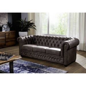 Askont R Pohovka 3M dark brown Chesterfield Oxford