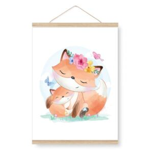 Poster for the children's room - a fox with his mother A3