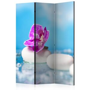 Paraván - Pink Orchid and white Zen Stones [Room Dividers]