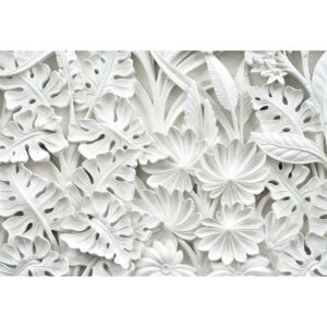 Fototapeta, Tapeta Vintage 3D Carved Flowers White, (211 x 91 cm)