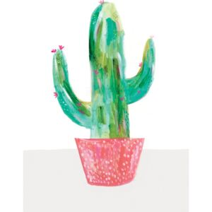 Ilustrace Painted cactus in coral plant pot, Laura Irwin