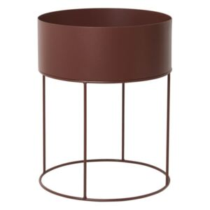 Ferm Living Truhlík na květiny Plant Box Round, red brown