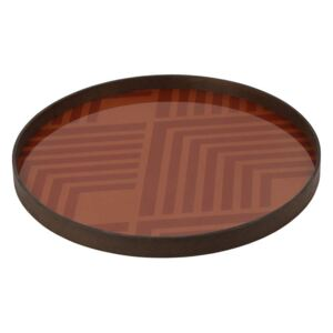 Ethnicraft Tác Glass Tray Round L, orange chevron