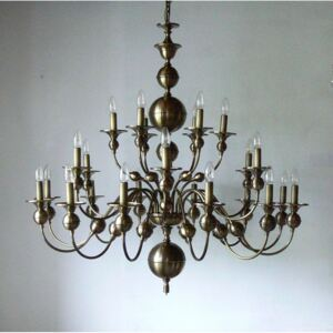 24 Arms stained Dutch chandelier - manually pressed brass parts ANTIK