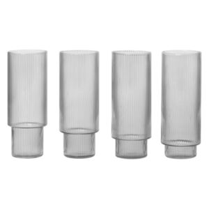 Ferm Living Sklenice Ripple Long Drink smoke, set 4ks