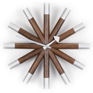 Hodiny Wheel Clock, walnut Vitra