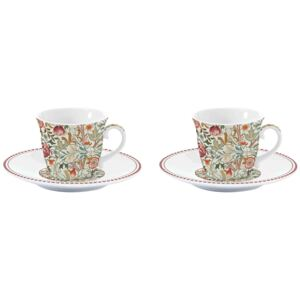 Porcelánové šálky a podšálky na espresso William Morris Natural