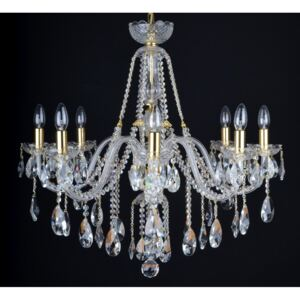 8 Arms Crystal chandelier with smooth glass arms & Cut almonds