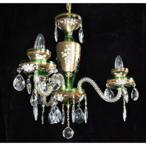 Small 3 Arms Emerald Green enamelled crystal chandelier with glass flowers