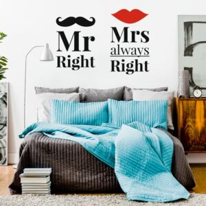 Nálepky na zeď Home - nápis - Mr Right & Mrs always Right N047