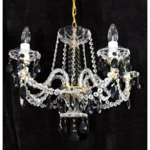 6 Arms Crystal chandelier with hand cut glass tulips & twisted arms
