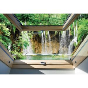 Fototapeta, Tapeta Waterfall 3D Skylight Window View, (254 x 184 cm)